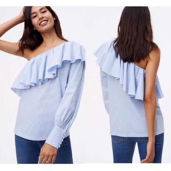 2209d683d93945 LOFT Tops - Loft one arm shoulder ruffle blouse.